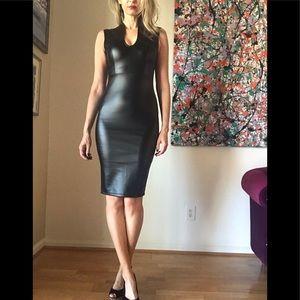 NWOT Faux Leather Bodycon Midi Dress